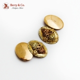 Oval Applied Grapevine Motif Cufflinks 10K Two Tone Gold