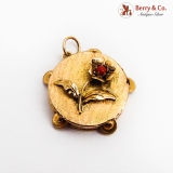 Tambourine Form Charm Pendant Flower Decoration 14K Gold