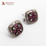 Openwork Square Ruby Diamond Earrings 18K White Gold