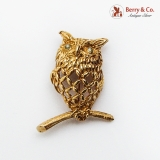 Figural Openwork Wise Owl Brooch 14K Gold Moonstone Eyes