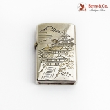 .Japanese Bright Cut Engraved Lighter 950 Sterling Silver 1950