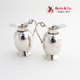 .Pitcher Form Salt Pepper Shakers Pair Sterling Silver Mexico
