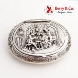 .Happy Village People Snuff Pill Box Gerardus Schoorl Dutch 833 Silver 1900