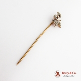 Art Nouveau Floral Diamond Stick Pin 14K Gold 1900