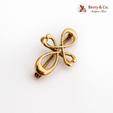 Hearts Infinity Form Pin Watch Holder 14K Yellow Gold
