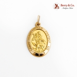Saint Christopher Protect Us Medallion Pendant 14K Yellow Gold