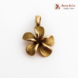 Figural Matte Finish Flower Pendant 14K Yellow Gold