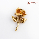 Figural Rose Brooch 18K Yellow Gold Diamond Accent