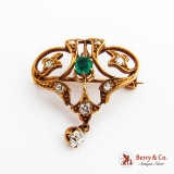 Ornate 14K Gold Brooch Pendant White Sapphires Emerald 1900