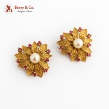 Foliate 14K Gold Clip On Earrings Pearl Natural Rubies 1950