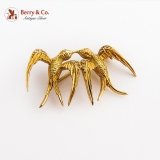 Two Swallows Brooch Diamond Accents 18K Gold