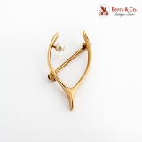 Wish Bone Form Brooch Pearl Accent 14K Gold