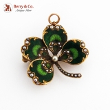Antique Four Leaf Clover Brooch Pendant Enamel 14K Gold Seed Pearls