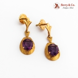 Vintage Amethyst Dangle Earrings 18K Yellow Gold