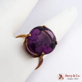 Oval Amethyst Ring 8K Yellow Gold