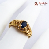 Natural Sapphire Ring 18K Yellow Gold White Gem Accents
