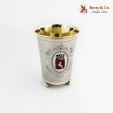 .Swedish Beaker Stag Crowned Red Enamel Crest 1907 830 Standard Silver