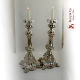 .Baroque Candlesticks 1800 Northern European 11 Loth Silver