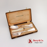 .Vintage Boxed Flatware Set 2 Spoons 2 Forks 1 Knife 800 Silver