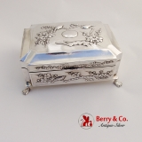 .Antique Japanese Sterling Silver Humidor Box Bird and Cherry Blossom Designs c.1900