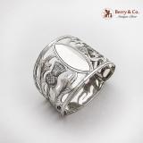 .Vintage Napkin Ring Open Work Thistle Sterling Silver Birmingham 1931
