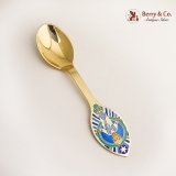 .Christmas Spoon Michelsen Sterling Silver 1984 Vermeil Enamel Christ