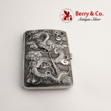 .Chinese Export Silver Cigarette Case High Relief Dragon Sterling Silver