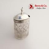 .Georgian Mustard Pot Sterling Silver Cut Glass 1799