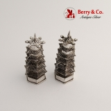 .Chinese Export Silver Pagoda Salt and Pepper Shakers