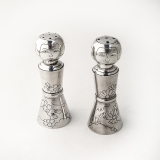 .Japanese Kokeshi Doll Salt and Pepper Shakers 950 Sterling Silver