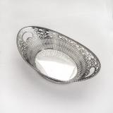 .Ornate Oval Basket Bowl Open Work Dutch 833 Standard Silver 1912