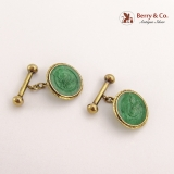 .Antique Chinese Carved Jade Cufflinks 18 K Gold