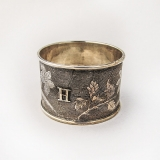 .Chinese Export Silver Napkin Ring Floral Decorations 1900