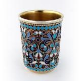 .Russian Enamel Vodka Cup 84 Standard Gilt Silver Moscow