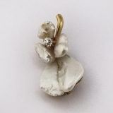 Keshi Pearl Orchid Form Brooch 18K Yellow Gold Diamond