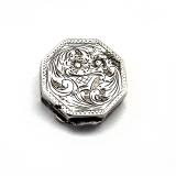 .Hexagonal Floral Engraved Pill Box Italian 800 Silver 1950s