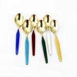 .Michelsen Gilt Demitasse Spoons Set Colorful Enamel Sterling
