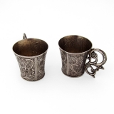 .Spanish Colonial Engraved Shot Cups Pair Figural Handle 900 Silver