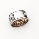 .Repousse Grape Napkin Ring Gilt Interior Portuguese 833 Silver