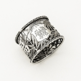 .Cutwork Bamboo Chinese Character Napkin Ring Wosheng Silver