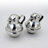 .Portuguese Pitcher Form Salt Pepper Shakers Pair Sterling Silver