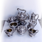 .Tiffany Co Violet Repousse 8 Piece Tea Coffee Set Sterling Silver 1895