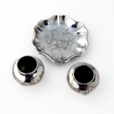 .Chinese Silver Open Salts Footed Dish Set Engraved Dragon