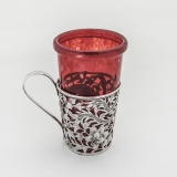 .Openwork Cup Holder Red Glass Chinese Export Silver 1890