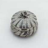 .Italian Ornate Round Box Floral Finial Miracoli 800 Standard Silver