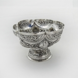 .Colonial Indian Silver Ornate Footed Bowl Openwork Rim 1910