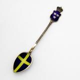 .Swedish Flag Souvenir Spoon Enamel Gilt 930 Sterling Silver