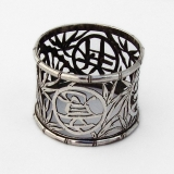 .Chinese Export Silver Napkin Ring Cutwork Bamboo Chinese Character