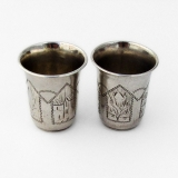 .Russian Engraved Shot Cups Pair Zakhoder 84 Standard Silver 1896