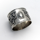 .Chinese Export Silver Napkin Ring Applied Dragons 1900